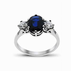 Sapphire & Diamond White Gold Three Stone Ring 9 x 7 mm